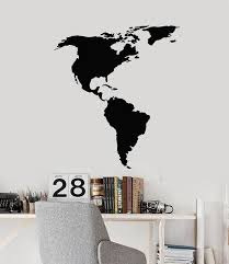 Vinyl Wall Decal North And South America American Continent Map Atlas Wallstickers4you