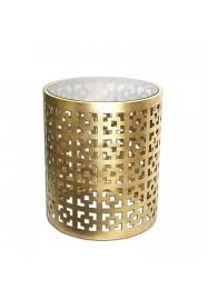 brass glass top round side table
