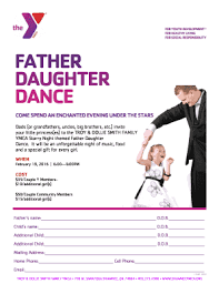 Fillable Online FATHER DAUGHTER DANCE - Shawnee YMCA Fax Email ...