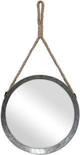 round galvanized metal mirror
