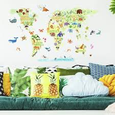 Kids World Map Peel And Stick Giant Wall Decals Roommates Decor