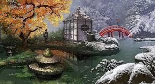 japanese zen garden painting