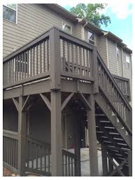 Color Coordinating A 2 Story Deck With The Sidinga Whole New Look For This Powder Springs 2 Story Deck The Homeowner Chose Sherwin Williams Tobacco