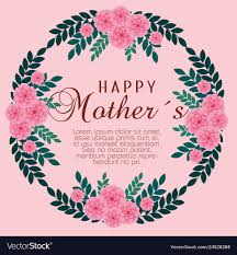Mothers day card with flowers plants decoration Vector Image