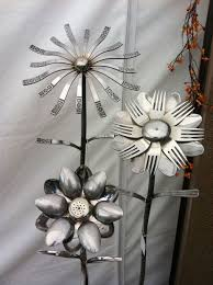 silverware repurposed as garden art