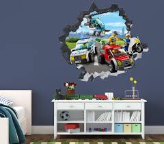 Lego City Police Villain Smashed Wall Decal 3d