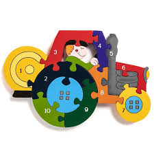 number tractor wooden jigsaw puzzle