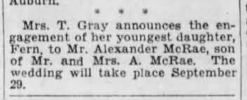 Engagement of Fern Gray and Alexander McRae 8 Sep 1934. Wedding 29 Sep 1934  - Newspapers.com