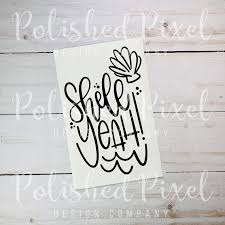 Handlettered Shell Yeah Decal Beach Decal Shell Decal Beach Etsy