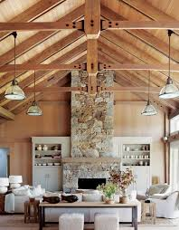 wooden ceiling hanging lamps tall stone