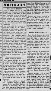 Sara Myrtle Martin Murray obituary - Newspapers.com