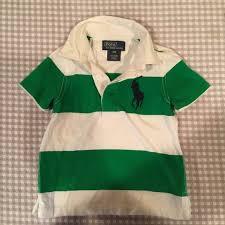 polo green white stripe short