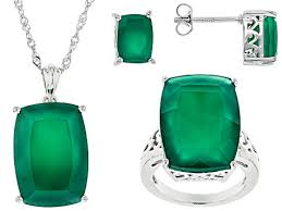 green onyx rhodium over sterling silver
