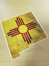 New Mexico Zia Flag Decal New Mexico Car Decal State Decal Nm Etsy