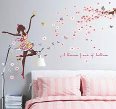 Bibitime Vinyl Wall Decal Butterfly Girl Dancing Under Tree Branches Full Of Flowers Fairy Sayings A Blossom Faerie Of Brilliant Quotes Sticker For Girlfriend Bedroom Music Classroom Wall Stickers Murals