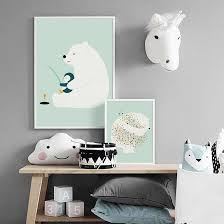 Polar Bear Penguin Fishing Nordic Posters And Prints Nursery Wall Art Canvas Painting Animal Wall Pictures Baby Kids Room Decor Painting Calligraphy Aliexpress