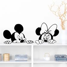 Cartoon Mickey Minnie Mouse Vinyl Wall Stickers Bedroom Baby Home Decor Disney Wall Decals Vinyl Mural Art Diy Wallpaper Wall Stickers Aliexpress