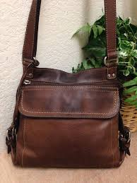 fossil brown leather organizer
