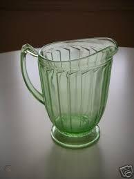 depression glass water pitcher