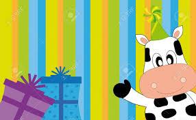 Invitacion Postal A Parte Una Vaca Con Regalos Ilustraciones