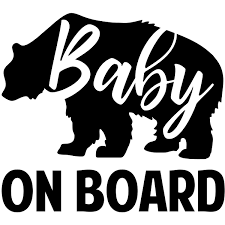 Baby Bear On Board Window Decal 904 Custom