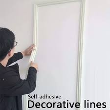 Self Adhesive Decorative Wall Molding Lines Background Lines Tv Setting Wall Decoration Lines Mural Border Line Width 5cm Wish In 2020 Wall Molding Decorative Wall Molding Wall Trim