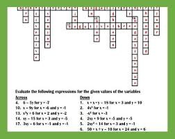 evaluating expressions crossword puzzle