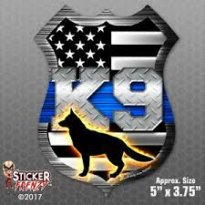 Thin Blue Line Shield K9 Dog Flag Sticker Car Truck Vinyl Decal Bumper Fs2047 Ebay