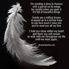 i m sending a dove to heaven in loving memory poem cards