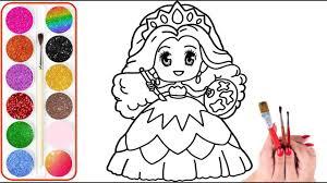 Vẽ và tô màu Công Chúa Chibi   Bé học Vẽ tranh và Tô màu