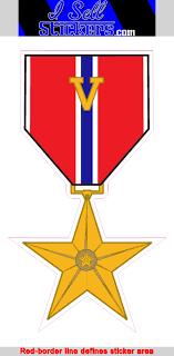 Ar 2217 Mini Bronze Star Medal V Device Army Bumper Sticker Car Window Decal