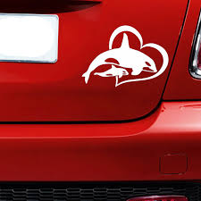 458152800 Orca Killer Whale W Baby Vinyl Decal Sticker Car Window Wall Bumper Heart Love Automobiles Motorcycles Exterior Accessories