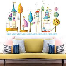 Jm7350 Creative Lake Castle Cute Wall Sticker Sale Price Reviews Gearbest