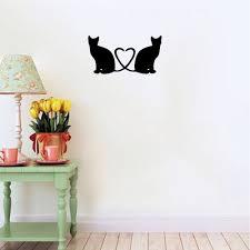 Cat 45 Cat Couple Vinyl Wall Sticker Cartoon Cat Silhouette Vinyl Wall Decal Home Decor Sale Price Reviews Gearbest