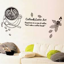 Coffee Latte Art Wall Mural Decor Sticker Happiness In A Cup Of Coffee Lets Take A Coffee Break Wall Quote Decal Post Wall Applique Wall Sticker Quotes Wall Stickers From Magicforwall