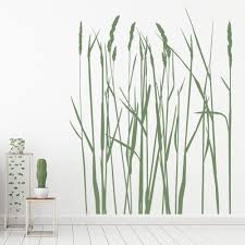 Long Grass Flowers Trees Wall Sticker Ws 16229 Ebay