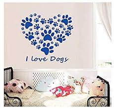 wall sticker i love dogs paw print