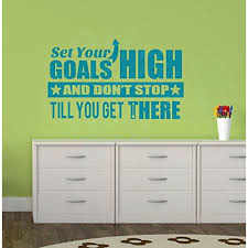 Set Your Goals High Vinyl Lettering Quote Inspirational Art For Home Decor Wall Stickers 23x14 Inch Teal Walmart Com Walmart Com