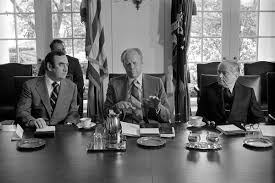 File:Photograph of President Gerald R. Ford Meeting with Governor Hugh  Carey of New York and Mayor Abraham Beame of New York City in the Cabinet  Room to Discuss Federal Financial Aid for
