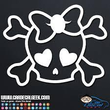 Cute Girly Skull Vinyl Car Window Decal Sticker