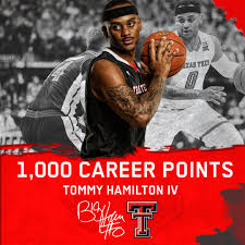 """Texas Tech Basketball on Twitter: """"Over the weekend, Tommy Hamilton IV  eclipsed the 1⃣0⃣0⃣0⃣-point milestone for his collegiate career, making him  the third Red Raider to do so this season! Congrats, Tommy! #"""