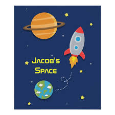 Outer Space Rocket Ship For Kids Room Poster Zazzle Com