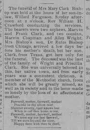 Mary Clak Bishop died 1902 Ferguson / Clark / Wright / Rufus ...