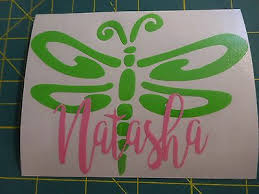 Custom Monogram Dragonfly Vinyl Decal For Stainless Tumblers Coffee Travel Cups 4 99 Picclick