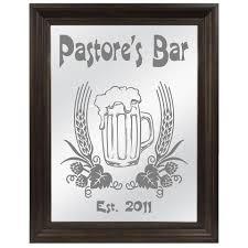 beer mug hops barley etched bar mirror