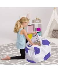 Big Deal On Kids Bean Bag Chair Cover Stuffed Animal Storage 38 Toy Organizer Sports Soccer Ball Purple And White Large
