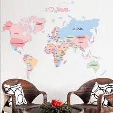 Super Promo Ddef7 Wall Stickers World Map Decor Sticker Wall Decals For Kids Rooms Educational Children Map Classroom Letter Colorful Baby Cicig Co