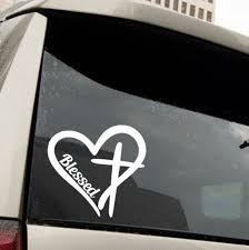 Blessed Heart Cross Vinyl Decal Auto Decal Car Decal Etsy