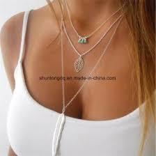 leaf long pendant necklaces 3 layer