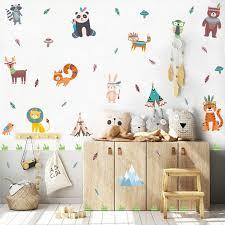 Amazon Com Toarti Woodland Animals Wall Decal 50 Decals Racoon Tiger Deer Rabbit Bird Animal Stickers Safari Jungle Wall Art For Baby Toddler Bedroom Nursery Decor Arts Crafts Sewing